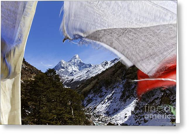 Buddhist Region Greeting Cards - Ama Dadlam mountain and prayer flags in the Everest Region of Nepal Greeting Card by Robert Preston