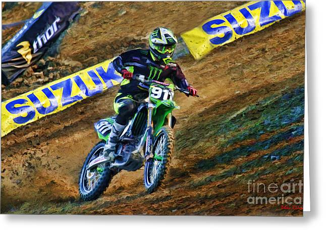 Supercross Greeting Cards - AMA SuperCross Tyler Bowers Greeting Card by Blake Richards