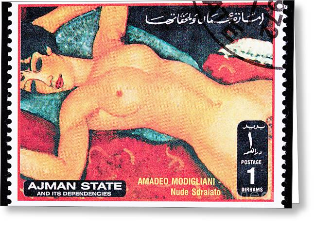 Modigliani Photographs Greeting Cards - Amadeo Modigliani Nude Sdraiato Reclining Nude Greeting Card by Jim Pruitt