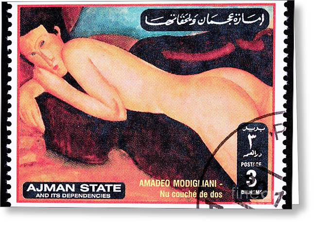 Modigliani Photographs Greeting Cards - Amadeo Modigliani Reclining Nude From the Back Greeting Card by Jim Pruitt