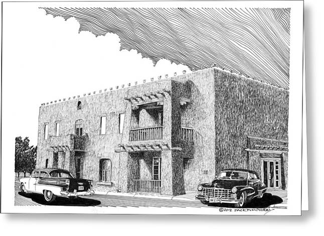 Gathering Drawings Greeting Cards - Amador Hotel in Las Cruces N M Greeting Card by Jack Pumphrey