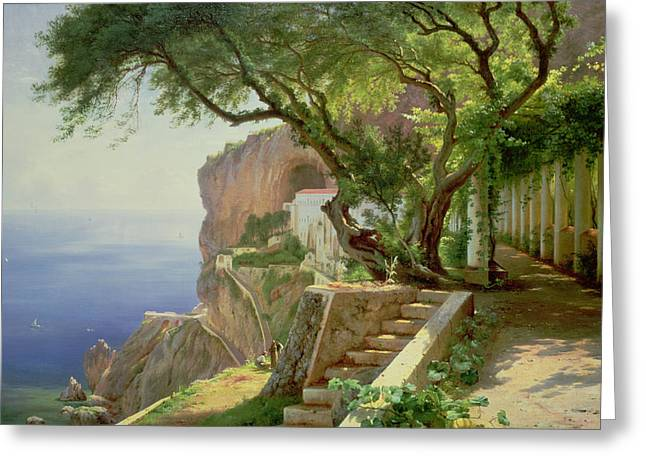 Looking Out Side Greeting Cards - Amalfi Greeting Card by Carl Frederick Aagaard