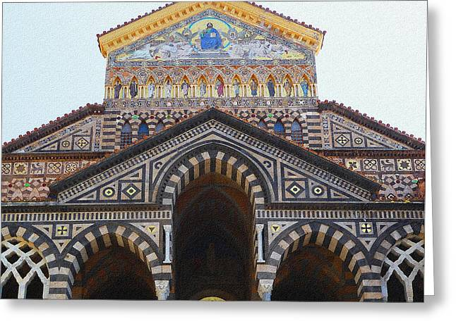 Dry Brush Greeting Cards - Amalfi Cathedral Italy  Greeting Card by Irina Sztukowski