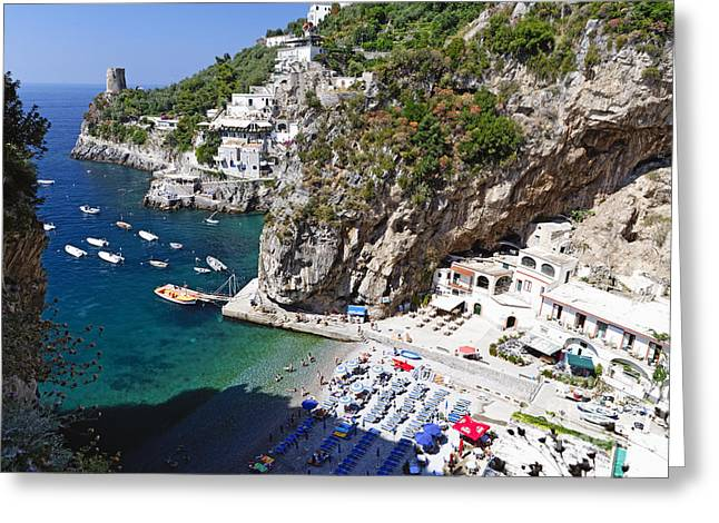 Southern Italy Greeting Cards - Amalfi Coast Beach Greeting Card by George Oze