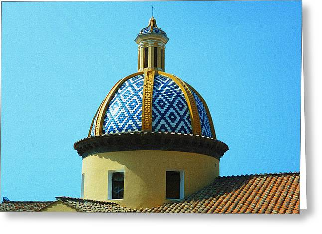 Dry Brush Greeting Cards - Amalfi Coast Church Italy  Greeting Card by Irina Sztukowski