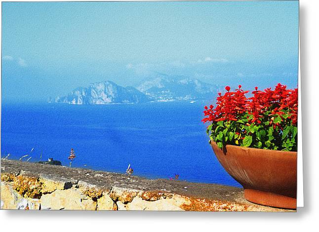 Dry Brush Greeting Cards - Amalfi Coast Italy Mediterranean Sea View Of Anacapri Greeting Card by Irina Sztukowski