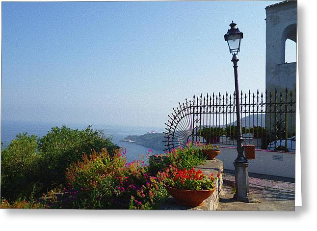 Dry Brush Greeting Cards - Amalfi Coast Italy Sea View Greeting Card by Irina Sztukowski