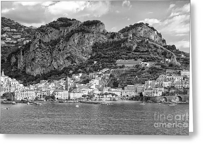 Italian Riveria Greeting Cards - Amalfi Coast monochrome Greeting Card by Kate McKenna