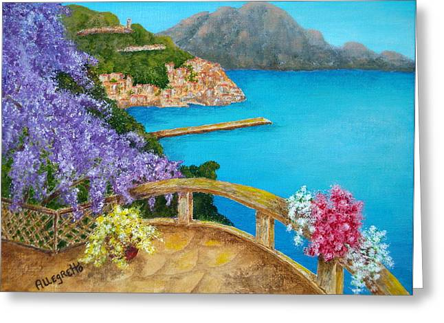 Southern Italy Greeting Cards - Amalfi Coast Greeting Card by Pamela Allegretto