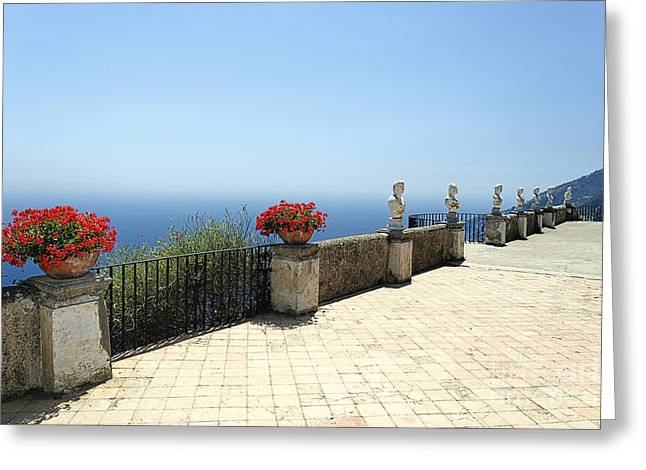 Southern Italy Greeting Cards - Amalfi Coast Terrace Vista Greeting Card by George Oze
