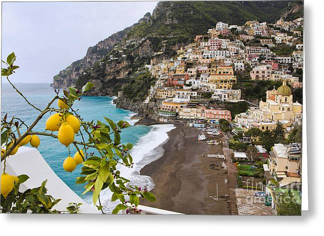 Hillsides Greeting Cards - Amalfi Coast Town Greeting Card by George Oze