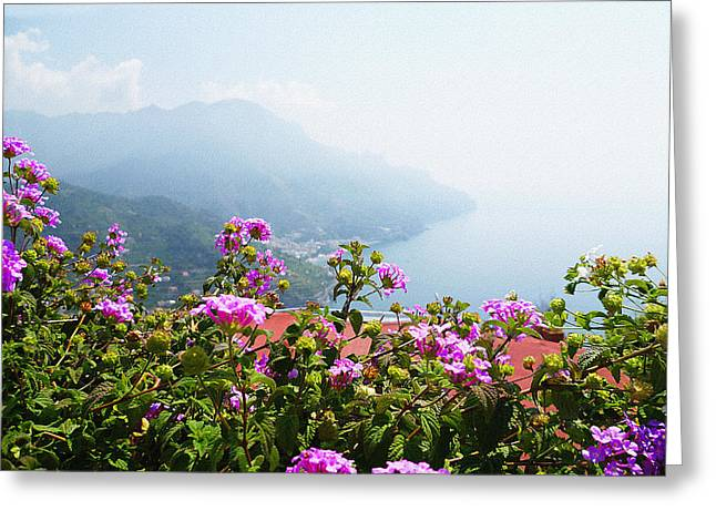 Dry Brush Greeting Cards - Amalfi Coast View From Ravello Italy  Greeting Card by Irina Sztukowski