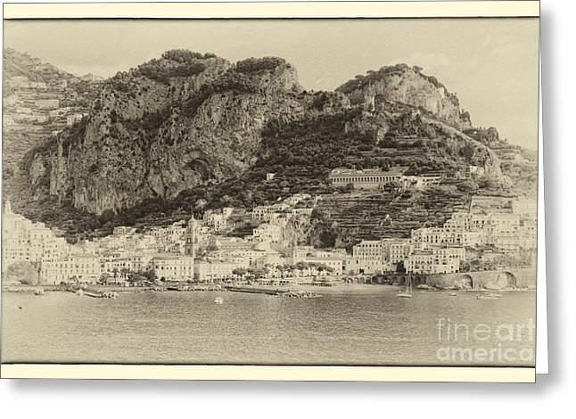 Italian Riveria Greeting Cards - Amalfi Coast Vintage Greeting Card by Kate McKenna