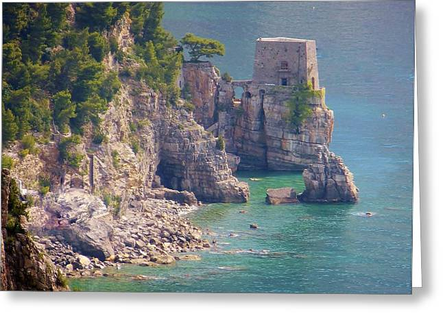 Amalfi Coast Greeting Cards - Amalfi Coast Watchtower Greeting Card by Marilyn Dunlap