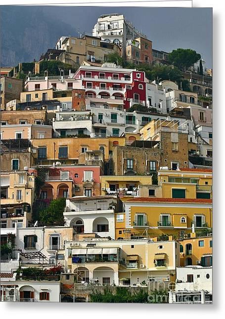 Dwell Greeting Cards - Amalfi Houses Greeting Card by Henry Kowalski