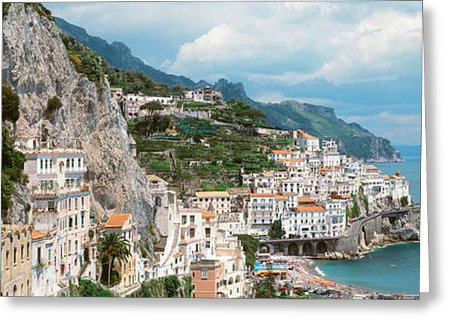 Overcast Day Greeting Cards - Amalfi, Italy Greeting Card by Panoramic Images