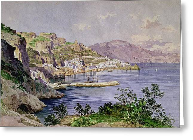 Village Views Greeting Cards - Amalfi Greeting Card by Ludwig Hans Fischer