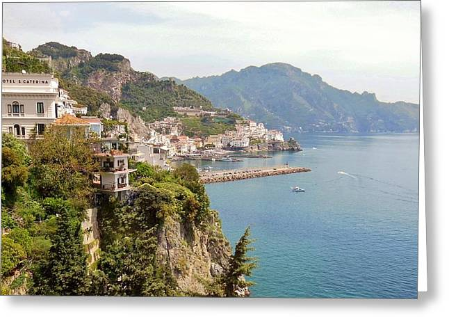 Amalfi Coast Greeting Cards - Amalfi Panorama With Flowers Greeting Card by Marilyn Dunlap