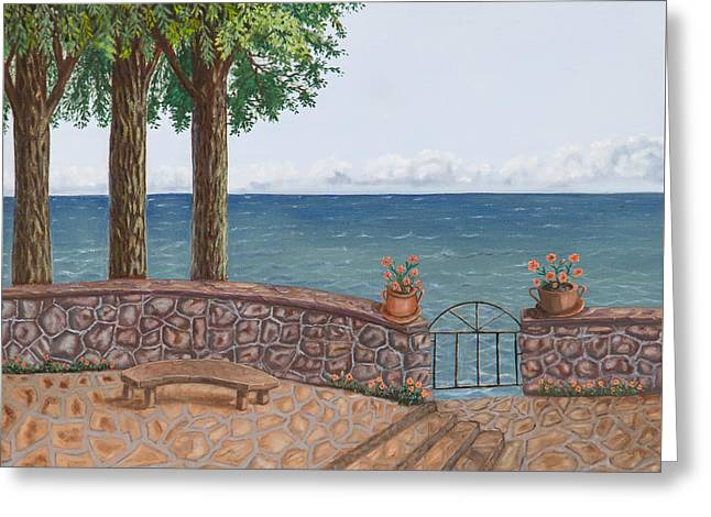 Amalfi Terrace Over Looking The Sea Greeting Card by Stevie Stefano