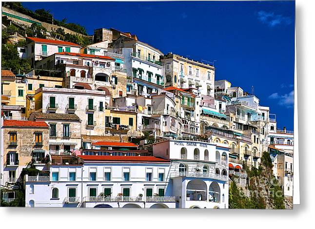 Italian Riveria Greeting Cards - Amalfi Architecture Greeting Card by Kate McKenna
