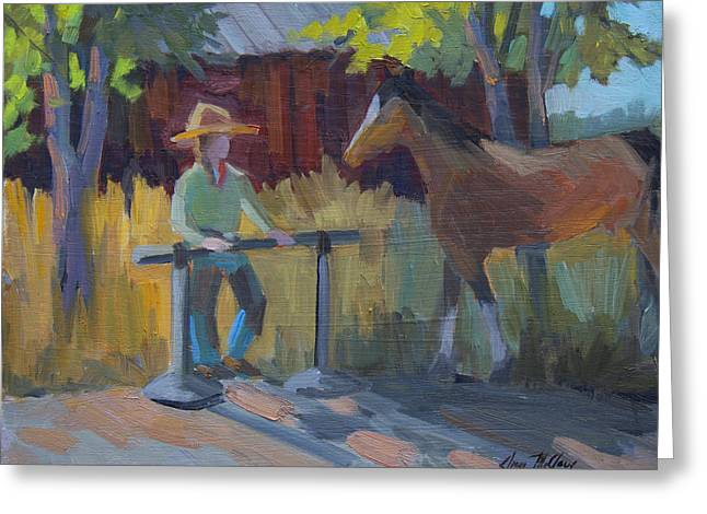 Cattle Ranch Greeting Cards - Amanda at the Hitching Post Greeting Card by Diane McClary