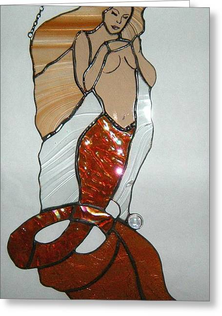 Lady Glass Greeting Cards - Amanda Greeting Card by Nora Solomon