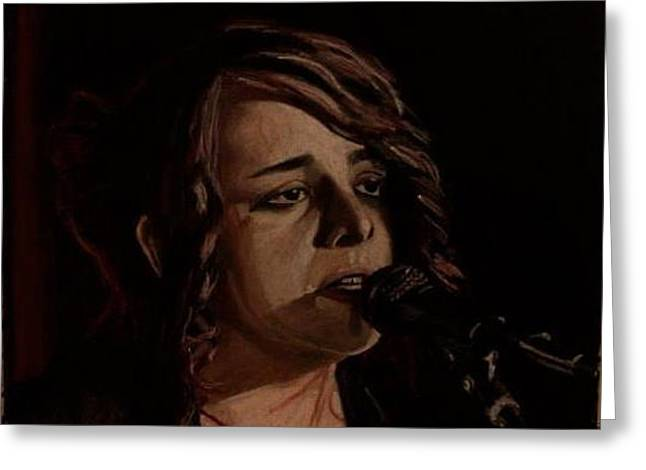 Live Music Pastels Greeting Cards - Amanda Greeting Card by Patricio Lazen