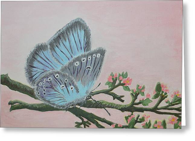 Bokeh Paintings Greeting Cards - Amandas Blue Dream Greeting Card by Felicia Tica