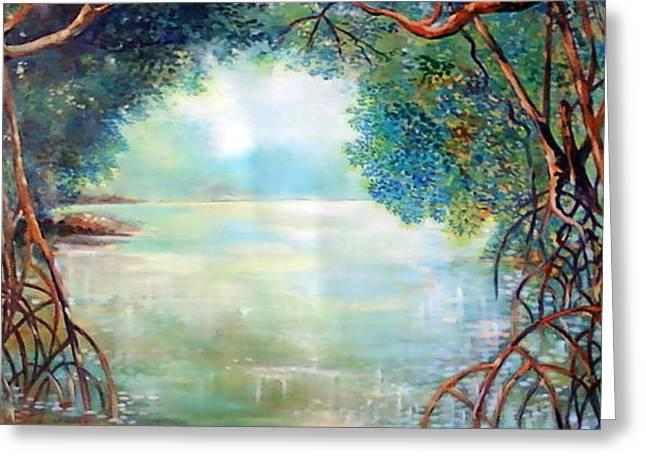 Best Sellers -  - Mangrove Forest Greeting Cards - Amanece en el sendero del perezozo Greeting Card by Ricardo Sanchez Beitia