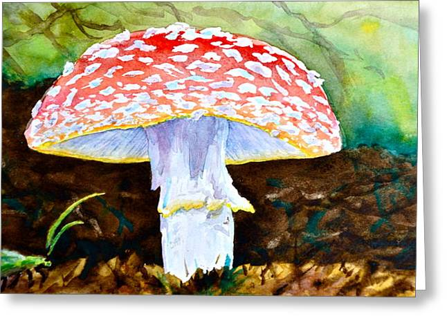 Fungi Paintings Greeting Cards - Amanita and Lacewing Greeting Card by Beverley Harper Tinsley