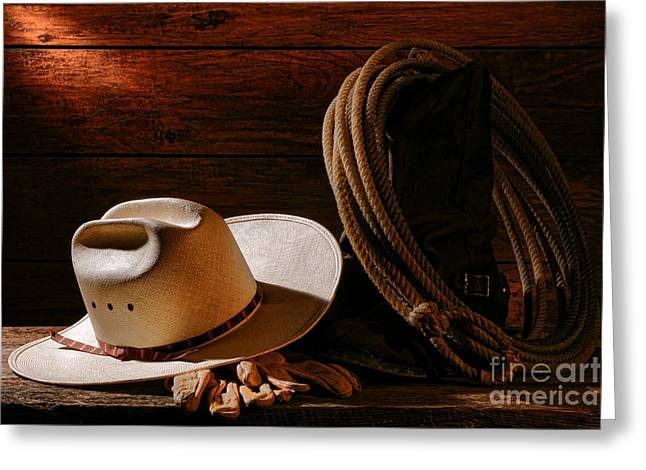 Rodeo Greeting Cards - Amarillo by Morning Greeting Card by Olivier Le Queinec