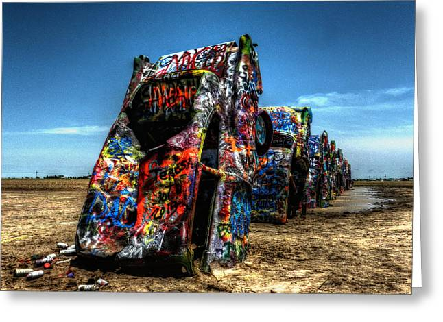 Installation Art Greeting Cards - Amarillo - Cadillac Ranch 004 Greeting Card by Lance Vaughn
