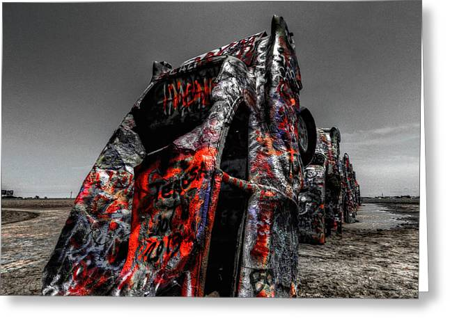 Installation Art Greeting Cards - Amarillo - Cadillac Ranch 005 Greeting Card by Lance Vaughn