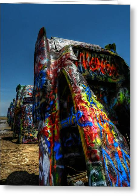 Paint Cans Greeting Cards - Amarillo -  Cadillac Ranch 006 Greeting Card by Lance Vaughn
