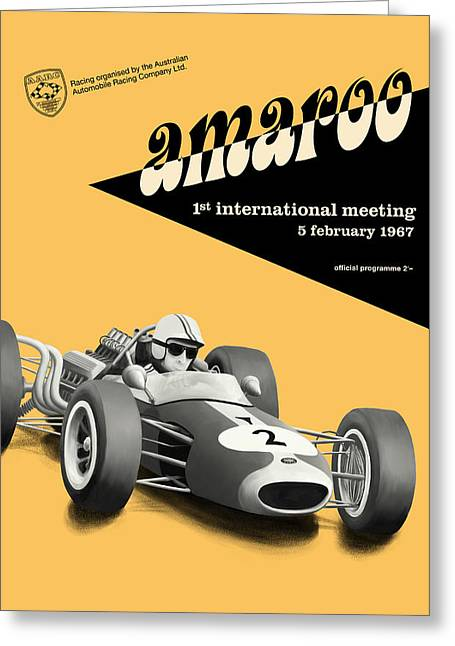 Rally Greeting Cards - Amaroo Sydney Tasman Championship 1967 Greeting Card by Nomad Art And  Design