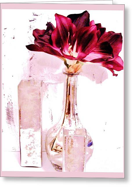 Glass Vase Greeting Cards - Amaryilisys Scent Greeting Card by Marsha Heiken
