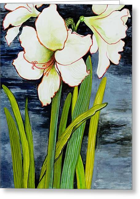 Flower Still Life Greeting Cards - Amaryllis against a night sky Greeting Card by Joan Thewsey