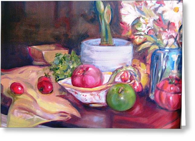 Still Life With Green Apples Greeting Cards - Amaryllis Greeting Card by Dorothy Siclare