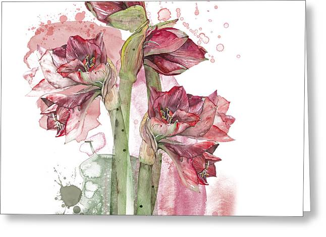 Bouquet Amaryllis Greeting Cards - Amaryllis Flowers - 3. - Elena Yakubovich Greeting Card by Elena Yakubovich