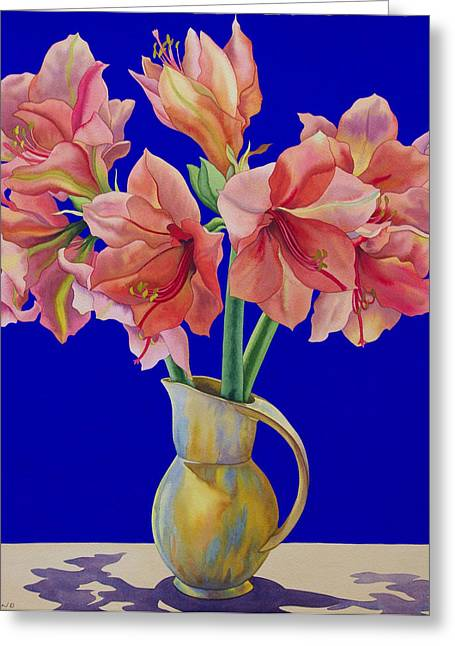Flower Still Life Greeting Cards - Amaryllis In A Jug, 2007 Wc And Gouache On Paper Greeting Card by Christopher Ryland