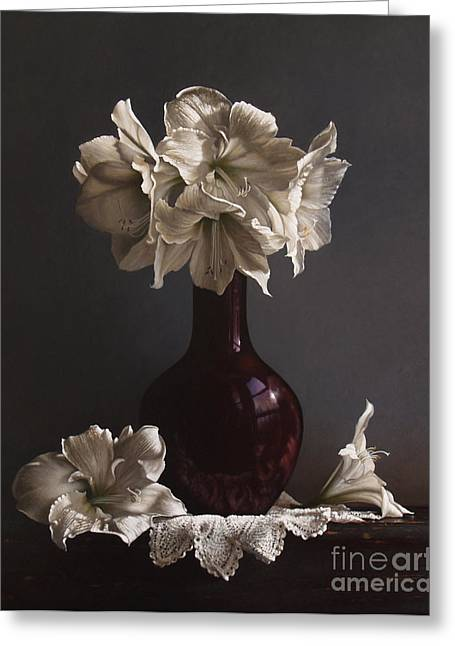 Vase Greeting Cards - Amaryllis  Greeting Card by Larry Preston
