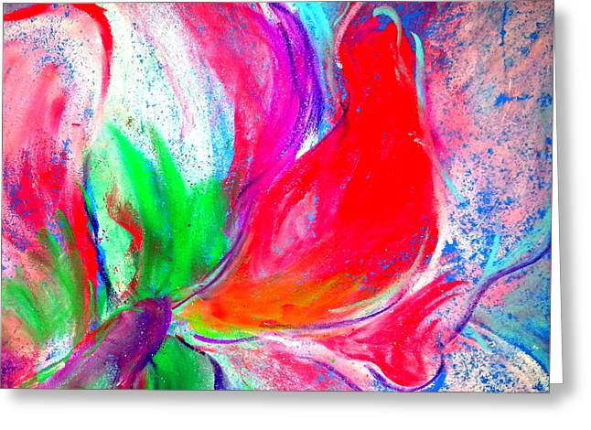 Loose Greeting Cards - Funky Amaryllis lily Greeting Card by Sue Jacobi