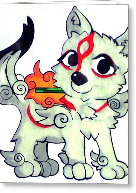 Consoling Paintings Greeting Cards - Amaterasu Okami Wolf Pup Greeting Card by Jin Kai