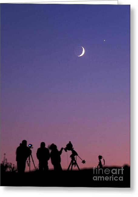 Amateur Photographer Greeting Cards - Amateur Astronomers Look At Moon Greeting Card by Babak Tafreshi
