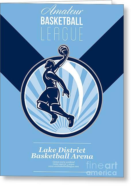 American Basketball Player Greeting Cards - Amateur Basketball League Retro Poster Greeting Card by Aloysius Patrimonio
