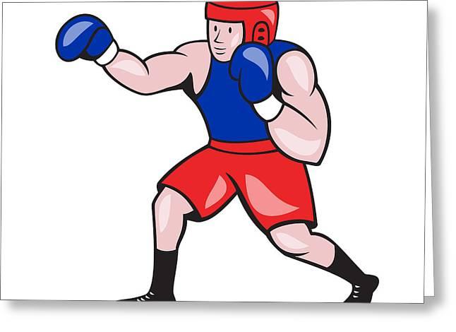 Amateur Greeting Cards - Amateur Boxer Boxing Cartoon Greeting Card by Aloysius Patrimonio