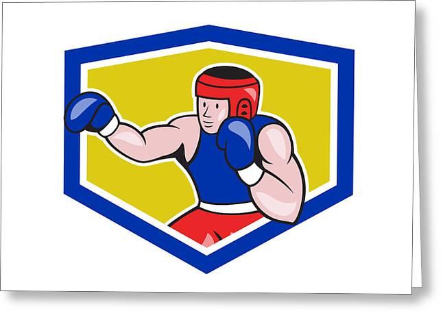 Amateur Greeting Cards - Amateur Boxer Boxing Shield Cartoon Greeting Card by Aloysius Patrimonio