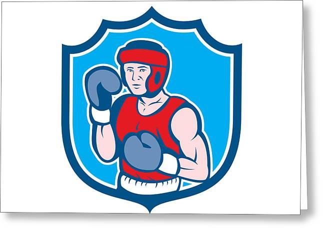 Amateur Greeting Cards - Amateur Boxer Stance Shield Cartoon Greeting Card by Aloysius Patrimonio