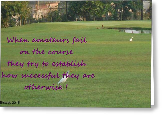 Golfcourse Greeting Cards - Amateur Golf  Greeting Card by Geeta Biswas