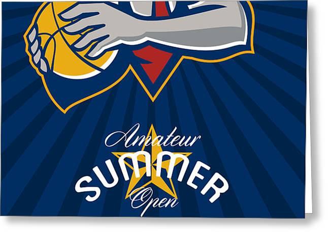 Amateur Summer Basketball League Open Poster Greeting Card by Aloysius Patrimonio
